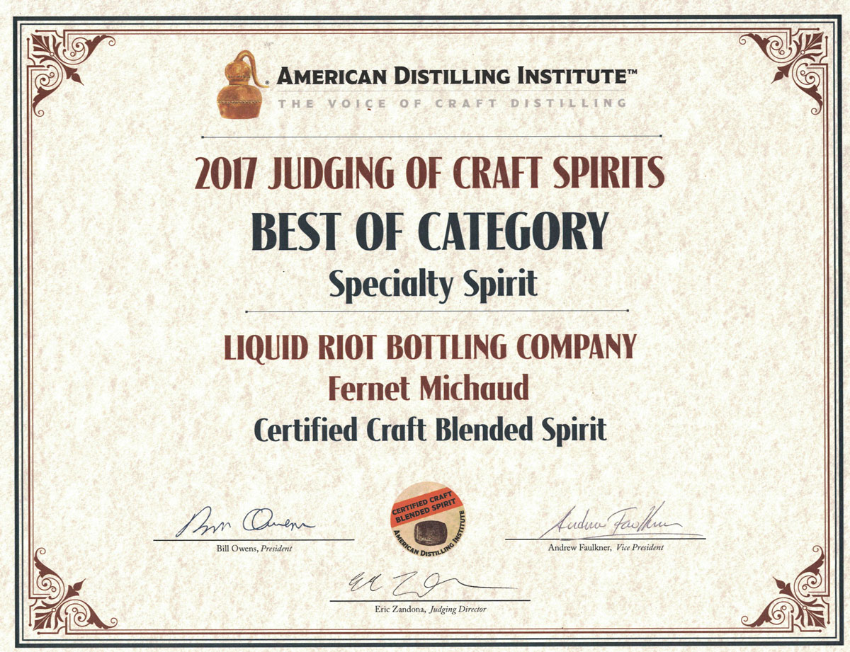 Fernet Michaud – American Distilling Institute Certificate – Best of Category, Specialty Spirit, 2017