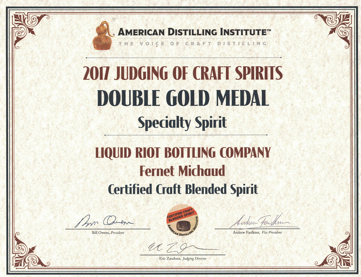 Fernet Michaud – American Distilling Institute Certificate – Double Gold, Specialty Spirit, 2017