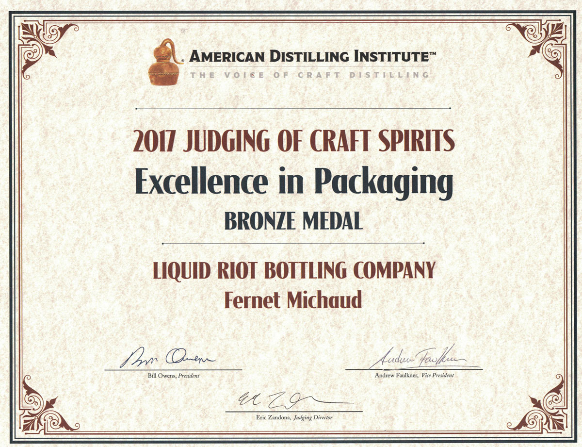 Fernet Michaud – American Distilling Institute Certificate – Bronze, Excellence in Packaging, 2017